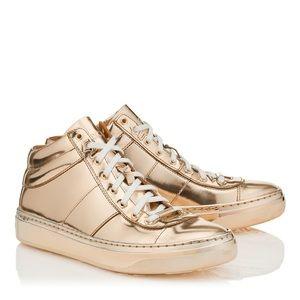 jimmy choo shoes belgrave metallic high top sneakers 39 poshmark rh poshmark com jimmy choo miami sneakers gold